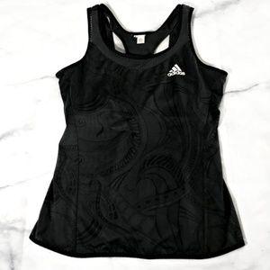 Adidas Black Swirl Print Tank Top w/ Built in Bra